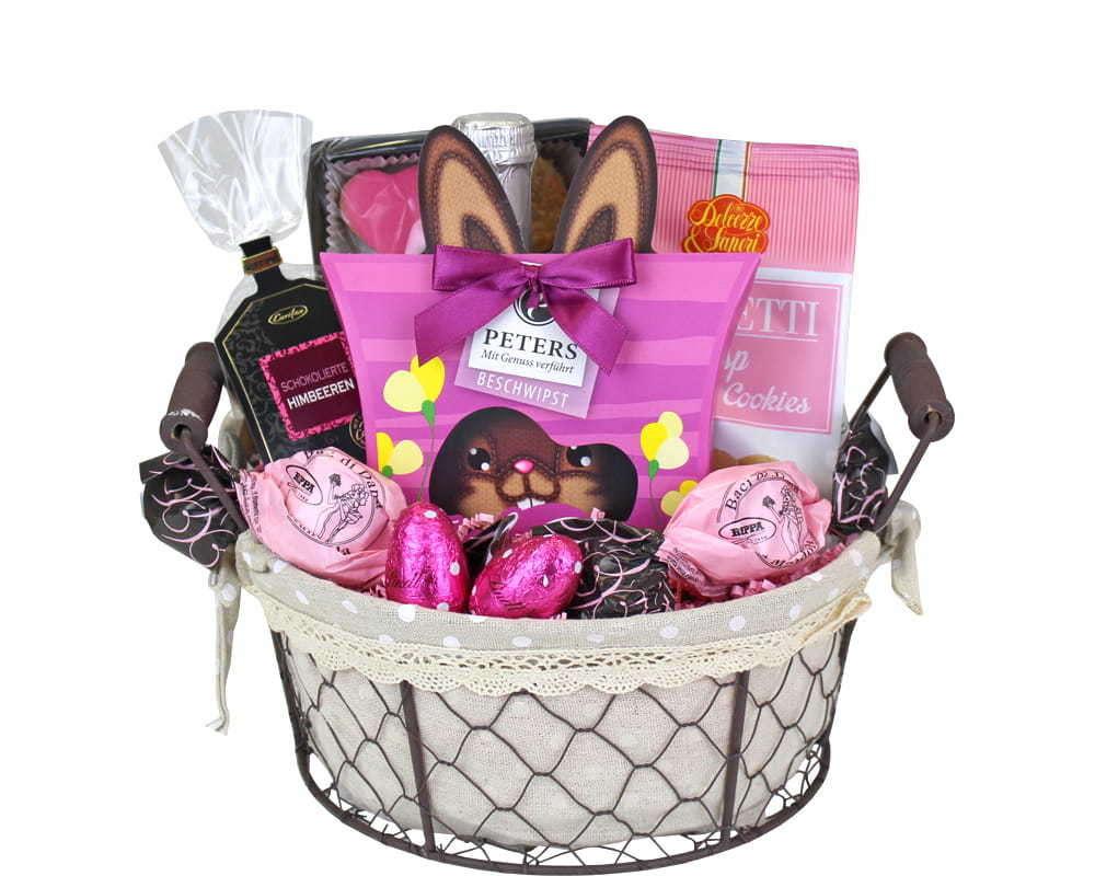 Rosa Hasennest Geschenkkorb - online bestellen